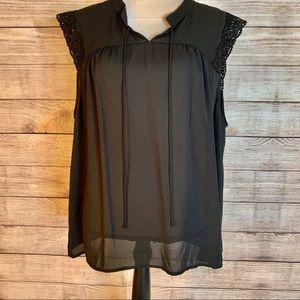 Gibson Latimer Sheer Black Lace Sleeveless Blouse